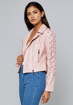 bebe Lace Up Sleeve Jacket