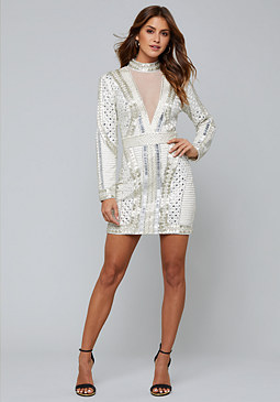 bebe Embellished Mini Dress