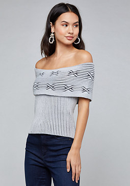 bebe Cable Off Shoulder Top