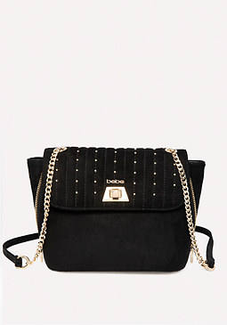 Bebe Studded Faux Suede Satchel