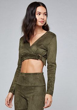 bebe Faux Suede Wrap Crop Top