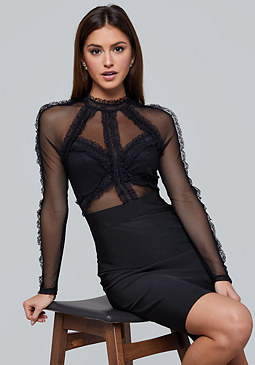 bebe Ruffle & Mesh Bandage Dress