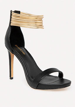 bebe Metallic Ankle Wrap Sandals