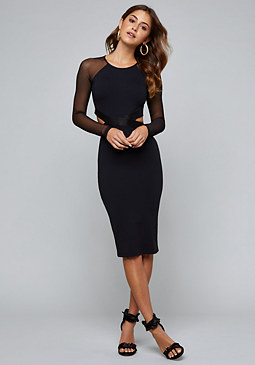 bebe Melanie Mesh Cutout Dress