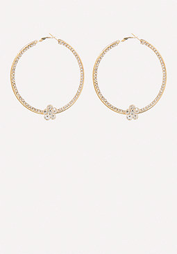 bebe Flower Hoop Earrings