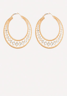 bebe Glam Textured Hoop Earrings