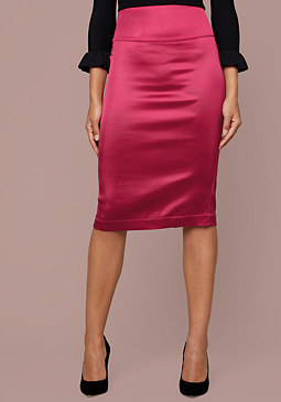 bebe Satin Pencil Skirt