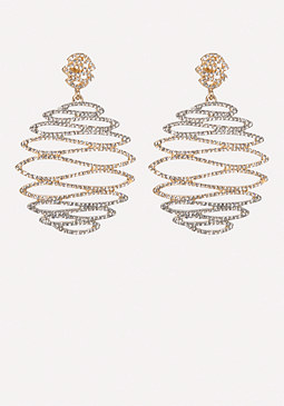 bebe Crystal Wavy Earrings