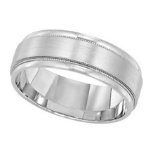 14k White Gold Mens 7mm Wide Comfort Fit Wedding Ring
