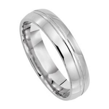 14k White Gold Mens 5mm Wide Comfort Fit Wedding Ring