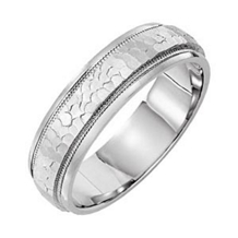 14k White Gold Mens 6mm Comfort Fit Wedding Band