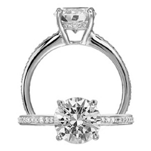 F SI1 1 CT Mounted in Ritani Classic Engagement Ring