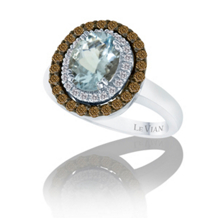 Le Vian Aquamarine and Brown Diamond Ring
