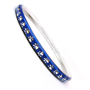 Hidalgo Blue Enamel Paw Print Bangle