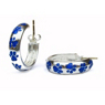Hidalgo Blue Enamel Paw Print Earrings