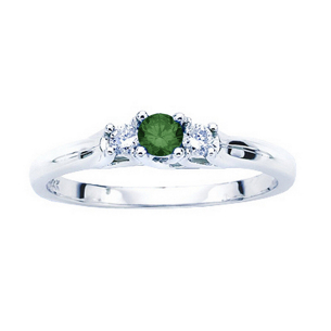 1 Carat Green Diamond Center Engagement Ring