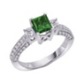 Princess Cut Green Diamond Center Engagement Ring