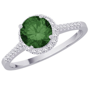 Green Diamond Center Engagement Ring