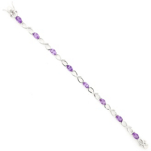 Sterling Amethyst and Diamond Bracelet
