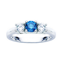 1 Carat Total Weight Blue Diamond Three Stone Ring