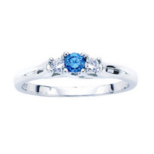 Blue Diamond Three Stone Ring  1/4 ctw