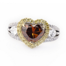 Simon G Two Tone Brown Orange Heart Diamond Ring