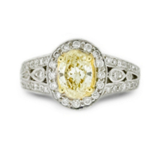 Yellow Diamond Oval Cut Engagement Ring