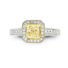 Antique Design Yellow Princess Center Engagement Ring