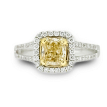 Fancy Princess Cut Yellow Diamond Ring