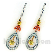 Tri Colored Diamond Earrings by Simon G