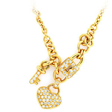 Diamond Heart, Lock and Key Necklace