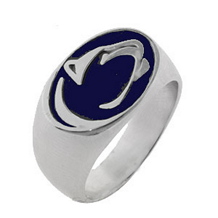 Gents Silver Nittany Lion Ring with Blue Enamel