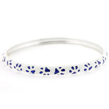 White and Blue Enamel Paw Print Bangle