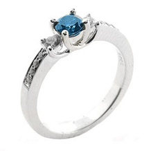 Blue Diamond Three Stone Plus Ring