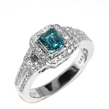 Emerald Cut Blue Diamond Ring