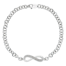 Sterling Silver Single Eternity Diamond Braclet