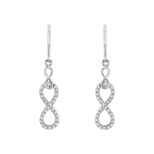 Sterling Silver Infinity Dangle Diamond Earrings