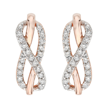 Two Tone Diamond Infinity Earrings