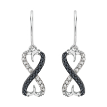 Black and White Diamond Infinity Dangle Earrings