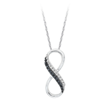 Sterling Silver Black and White Diamond Infinity Pendant