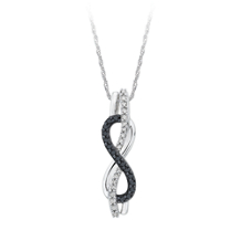 Black and White Diamond Infinity Pendant