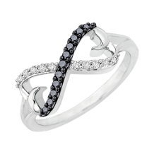 Black and White Diamond Infinity Ring