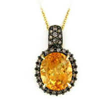 Brown Diamond and Citrine Pendant