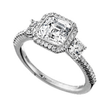Ritani Bella Vita Three Diamond Asscher Cut Ring