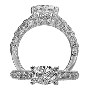 Ritani Romantique Oval Diamond Engagement Ring