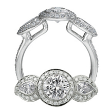 Ritani Endless Love Three Diamond Pear Ring
