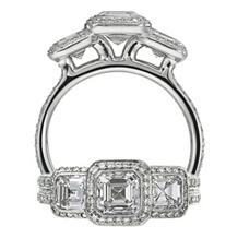 Ritani Three Stone Asscher Diamond Ring
