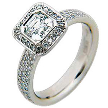 Ritani Triple Row Asscher Diamond Ring