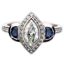 Marquis Sapphire and Diamond Ring by Ritani