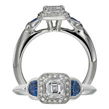 Ritani Asscher Diamond and Sapphire Ring
